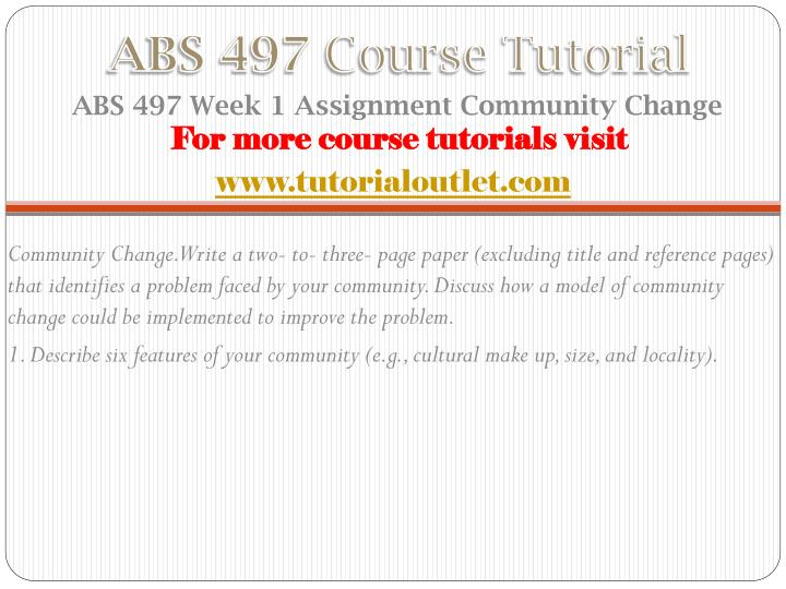 Abs 497 course tutorial