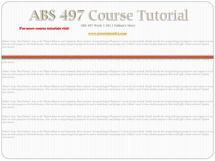 Abs 497 course tutorial1