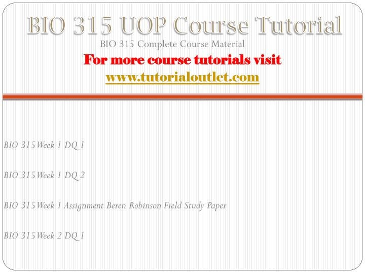 Bio 315 uop course tutorial