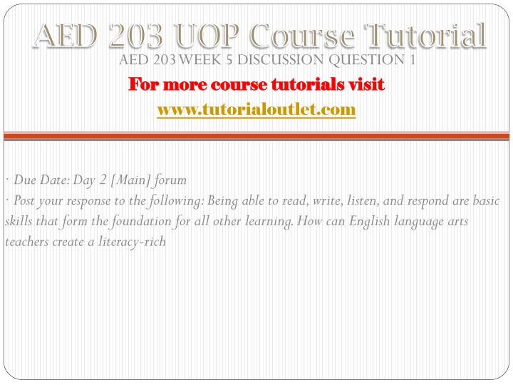 AED 203 UOP Course