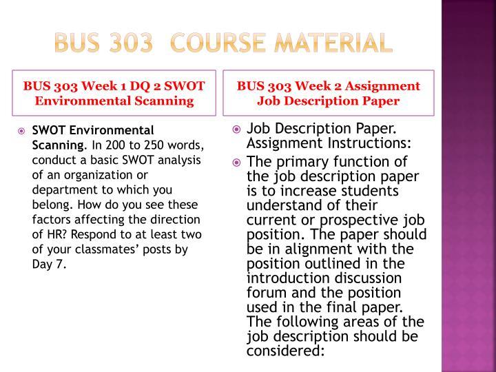 BUS 303  Course