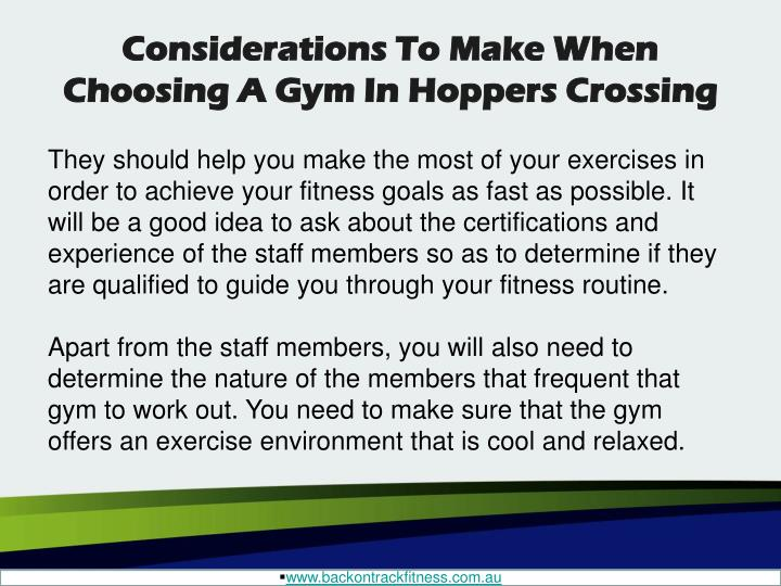 Considerations To Make When Choosing A Gym In Hoppers Crossing