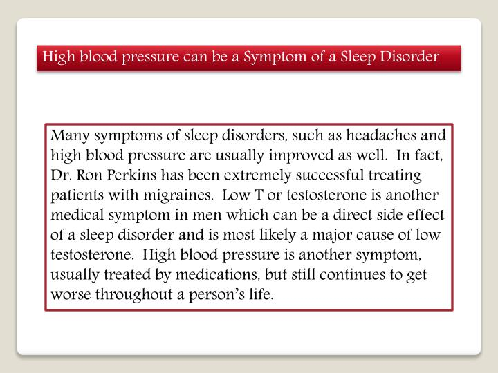 High blood pressure can be a Symptom of a Sleep
