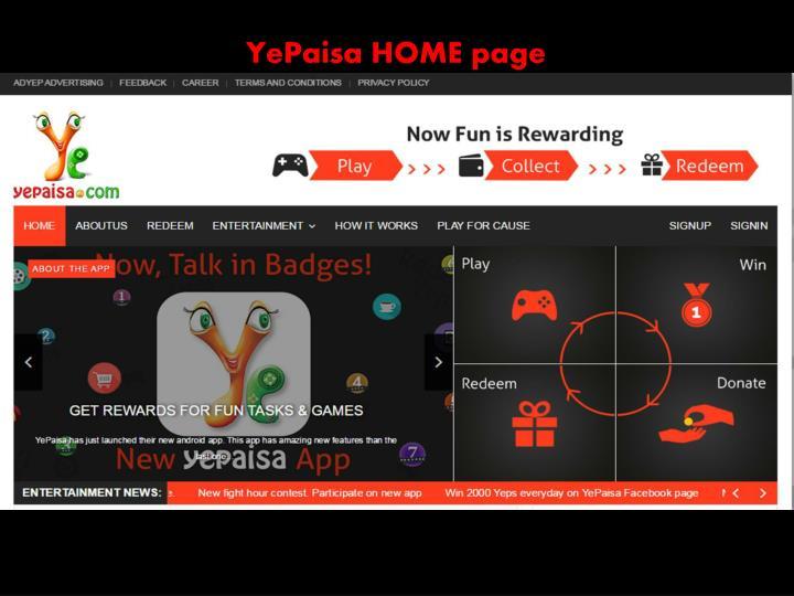 YePaisa HOME page