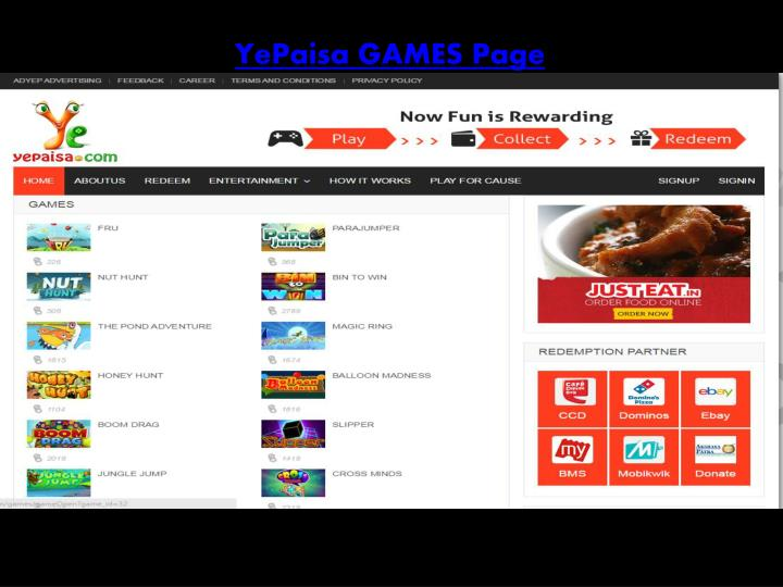 YePaisa GAMES Page