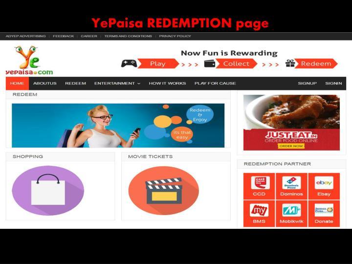 YePaisa REDEMPTION page