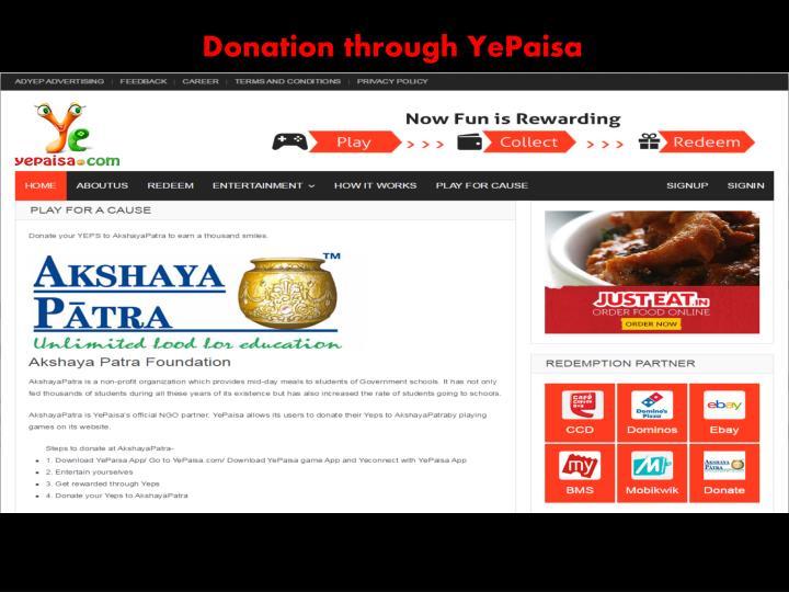 Donation through YePaisa