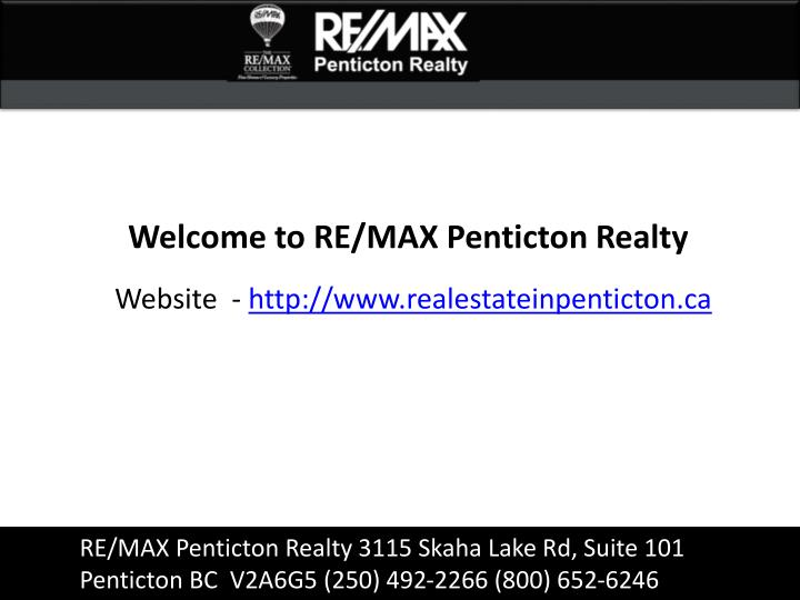 Welcome to RE/MAX Penticton Realty