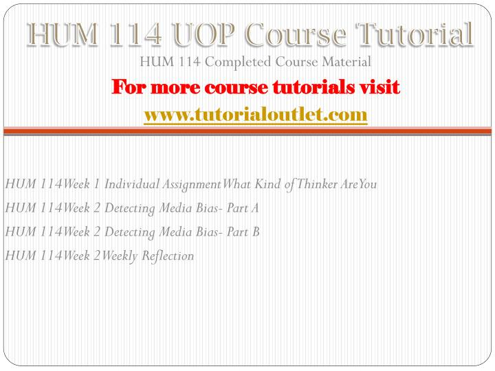 Hum 114 uop course tutorial