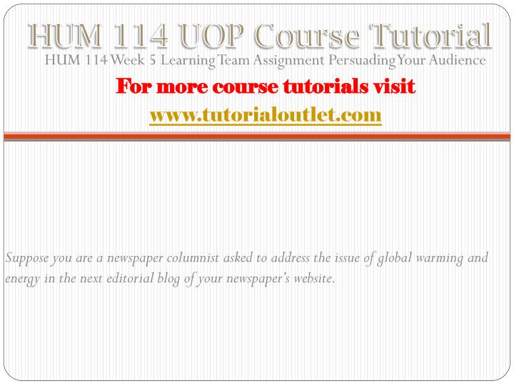 HUM 114 UOP Course