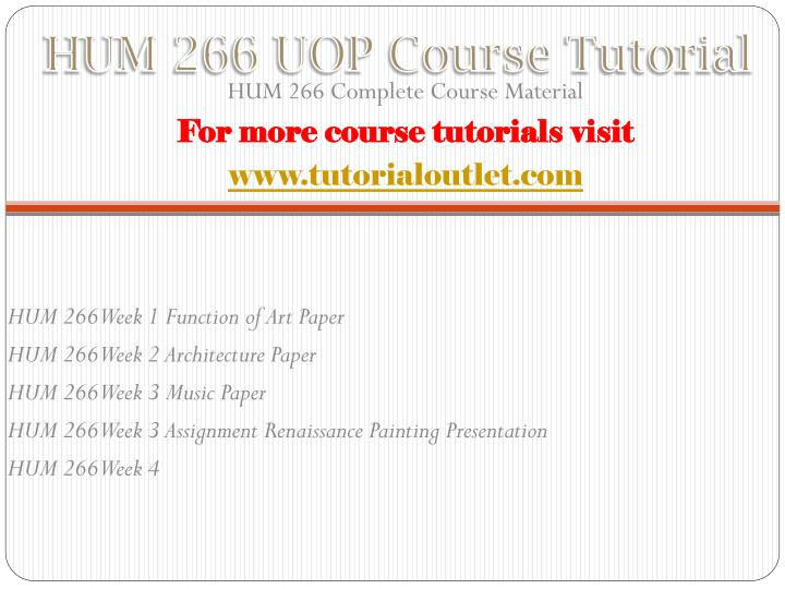 Hum 266 uop course tutorial