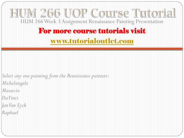 HUM 266 UOP Course
