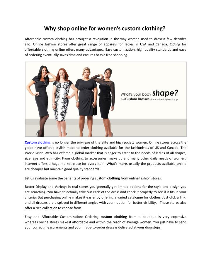 Why shop online for women s custom clothing