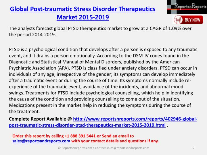 Global Post-traumatic Stress Disorder Therapeutics Market 2015-2019