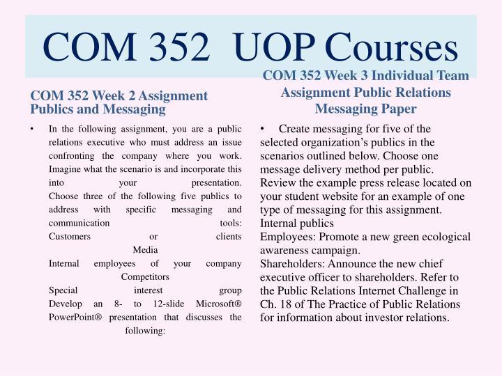 COM 352  UOP Courses