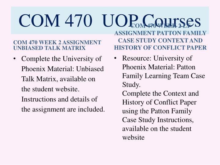 COM 470  UOP Courses