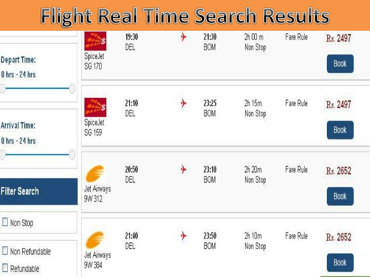Flight Real Time Search Results