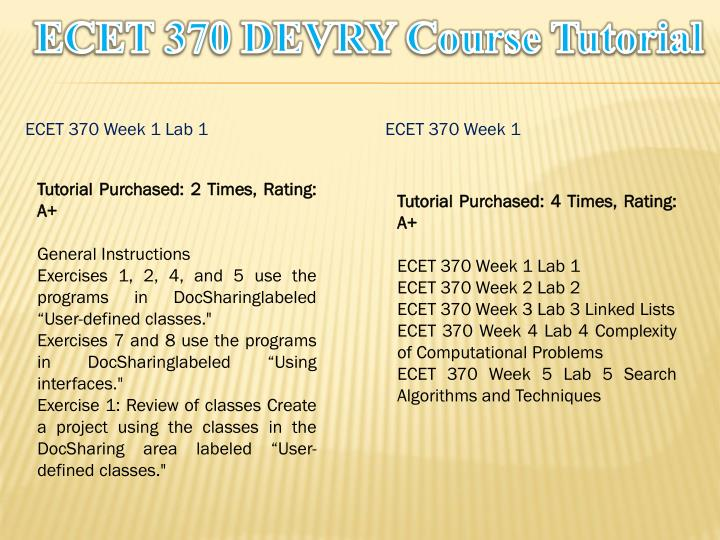 Ecet 370 devry course tutorial