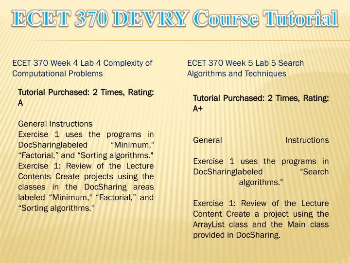 ECET 370 DEVRY