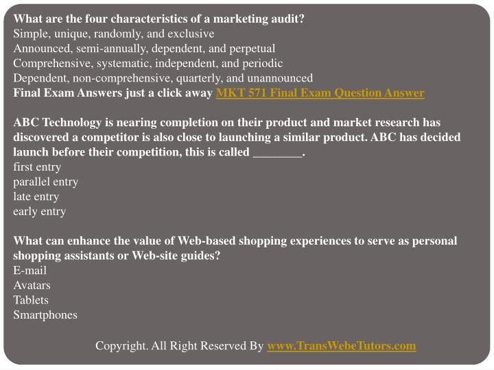 What are the four characteristics of a marketing audit?