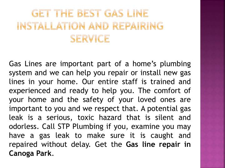 Get the Best Gas Line Installation and Repairing