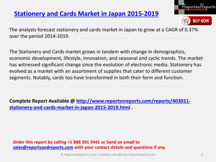 Stationery and cards market in japan 2015 20191