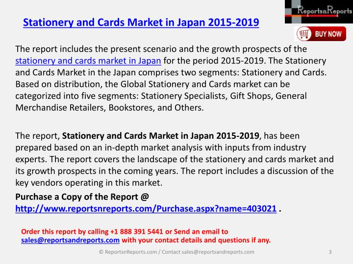 Stationery and cards market in japan 2015 20192