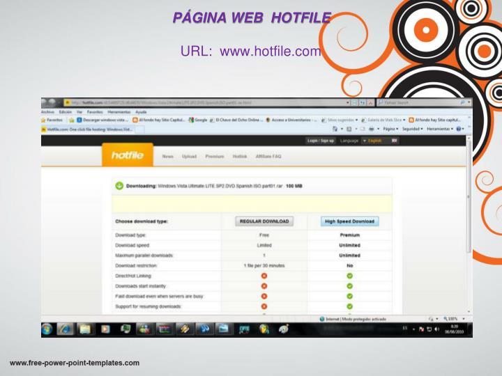 PÁGINA WEB  HOTFILE