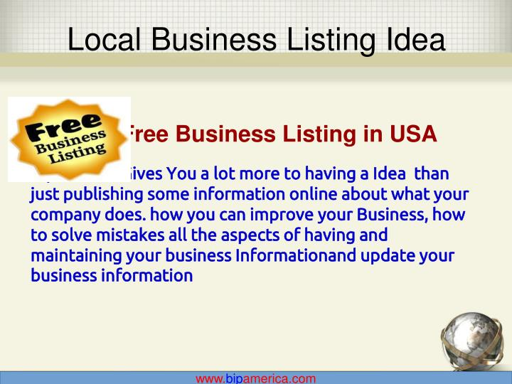Local Business Listing Idea