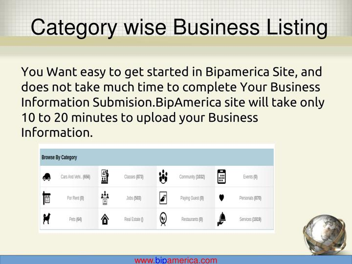 Category wise Business Listing