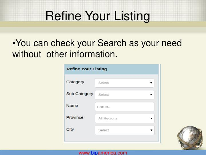 Refine Your Listing