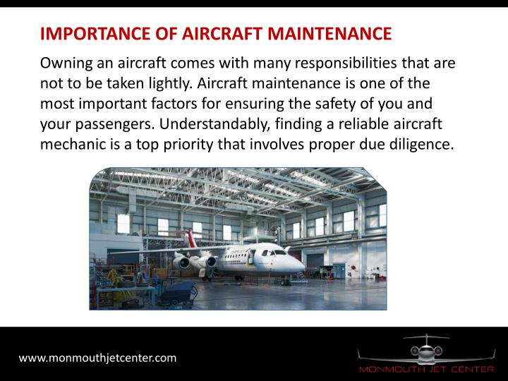IMPORTANCE OF AIRCRAFT MAINTENANCE