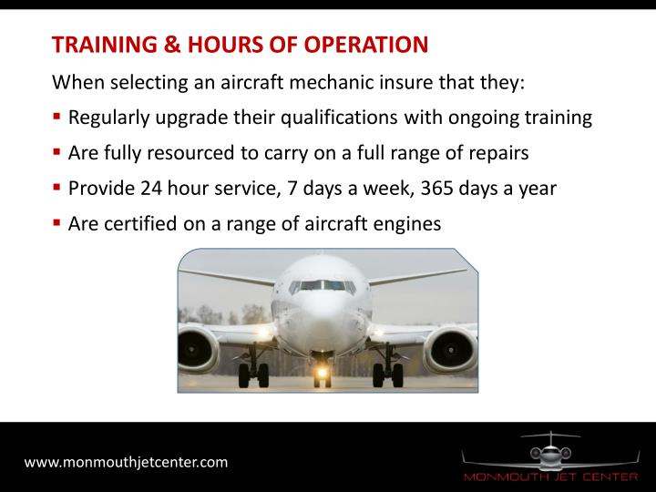 TRAINING & HOURS OF OPERATION