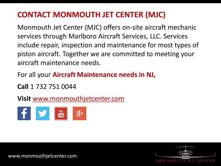 CONTACT MONMOUTH JET CENTER (MJC)