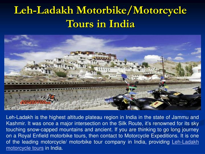 Leh-Ladakh Motorbike/Motorcycle Tours in India