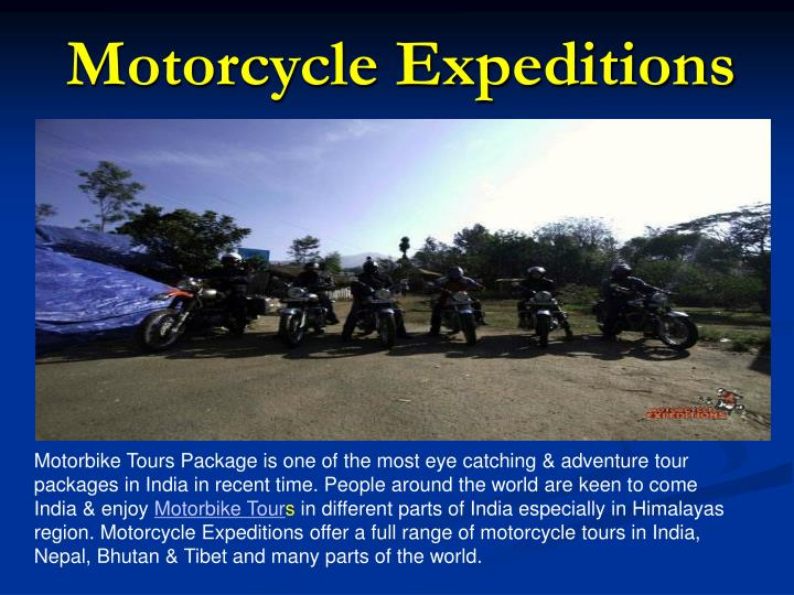 Motorcycle expeditions