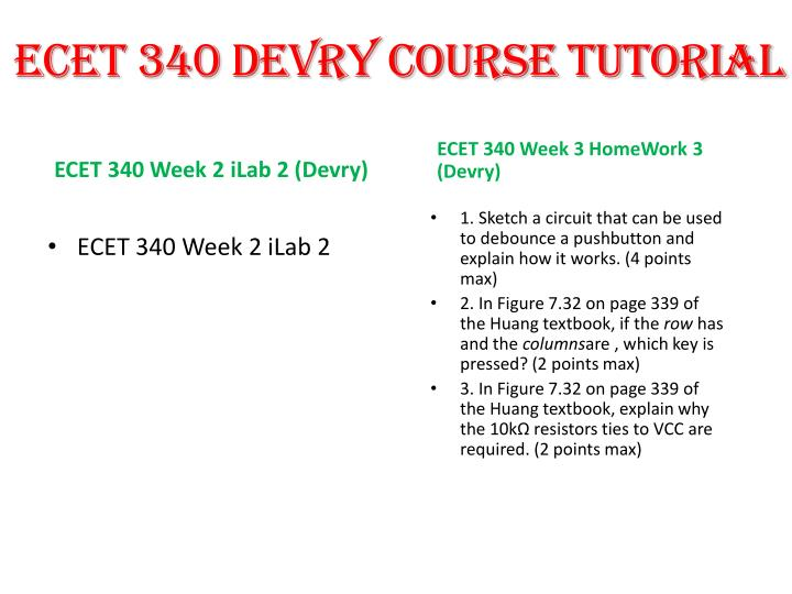 ECET 340 DEVRY COURSE TUTORIAL