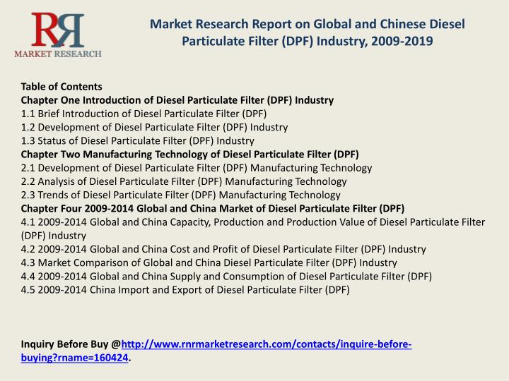 Market Research Report on Global and Chinese Diesel Particulate Filter (DPF) Industry, 2009-2019
