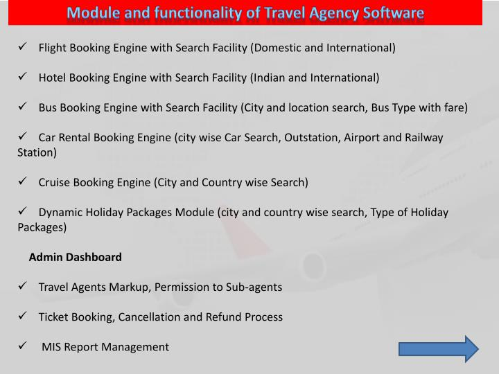 Module and functionality of Travel Agency Software