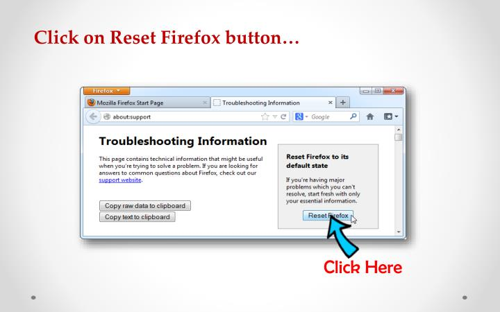 Click on Reset Firefox