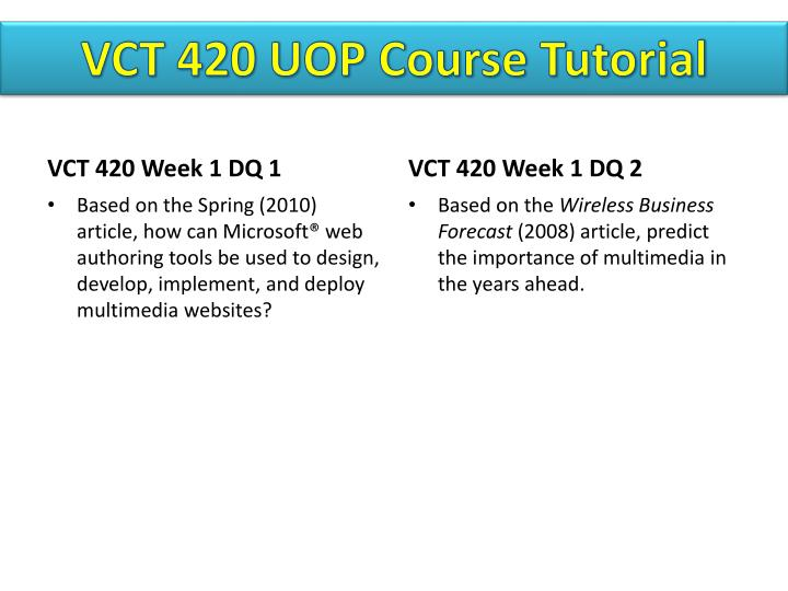VCT 420 UOP
