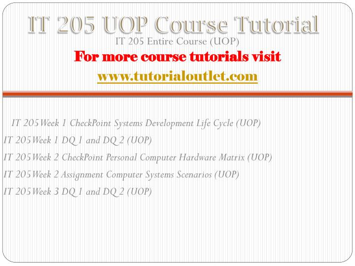 It 205 uop course tutorial