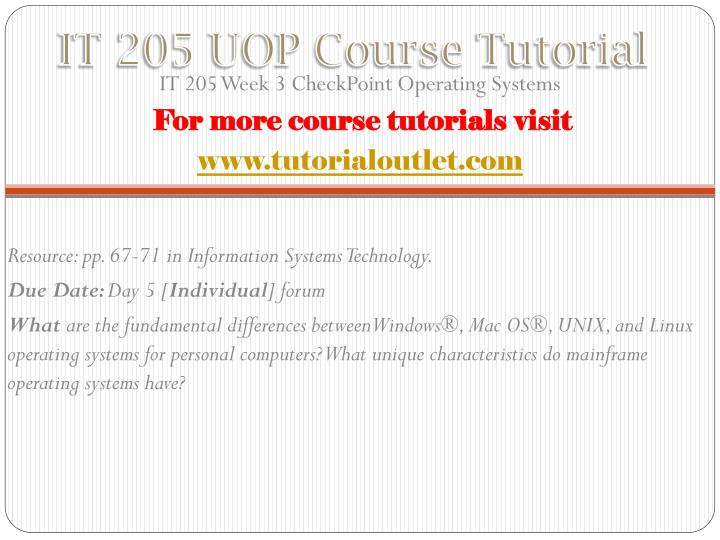 IT 205 UOP Course