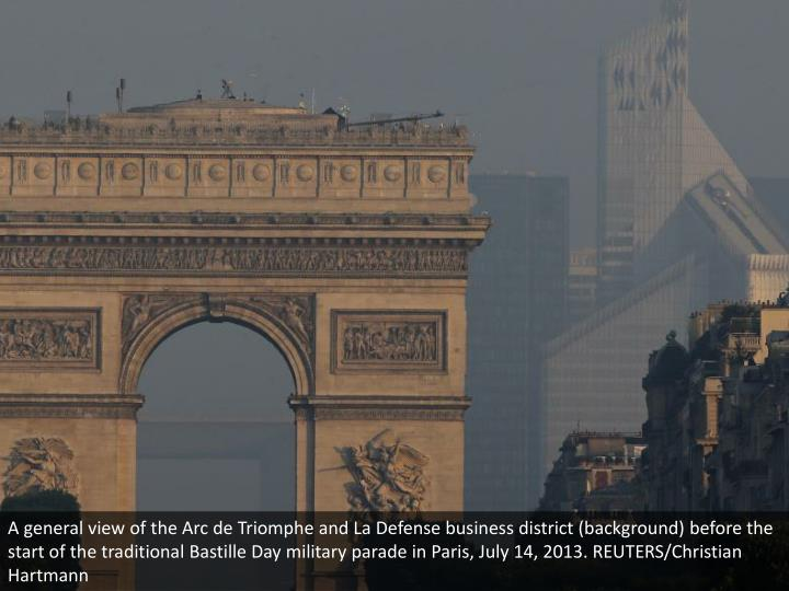 A general view of the Arc de Triomphe and La Defense business district (background) before the start of the traditional Bastille Day military parade in Paris, July 14, 2013. REUTERS/Christian Hartmann