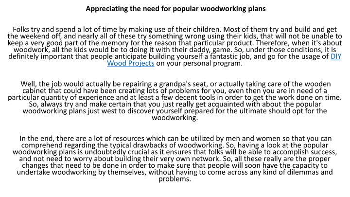 Appreciating the need for popular woodworking plans