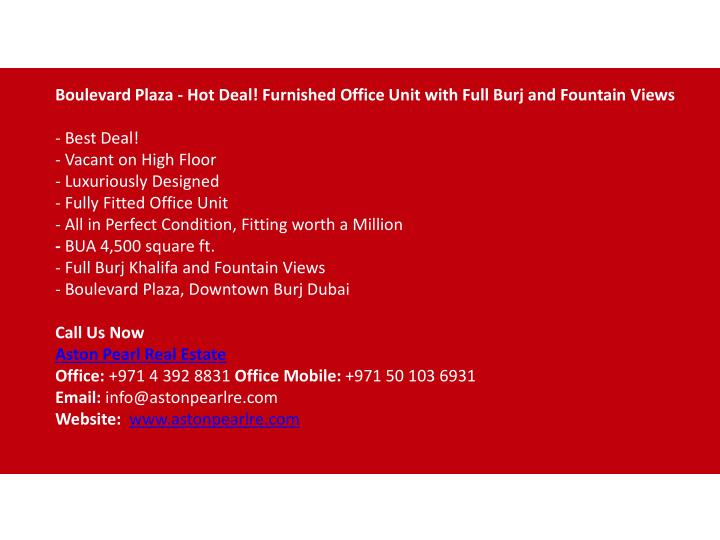 Boulevard Plaza - Hot Deal! Furnished Office Unit with Full Burj and Fountain
