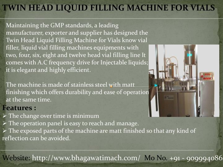 TWIN HEAD LIQUID FILLING MACHINE FOR VIALS