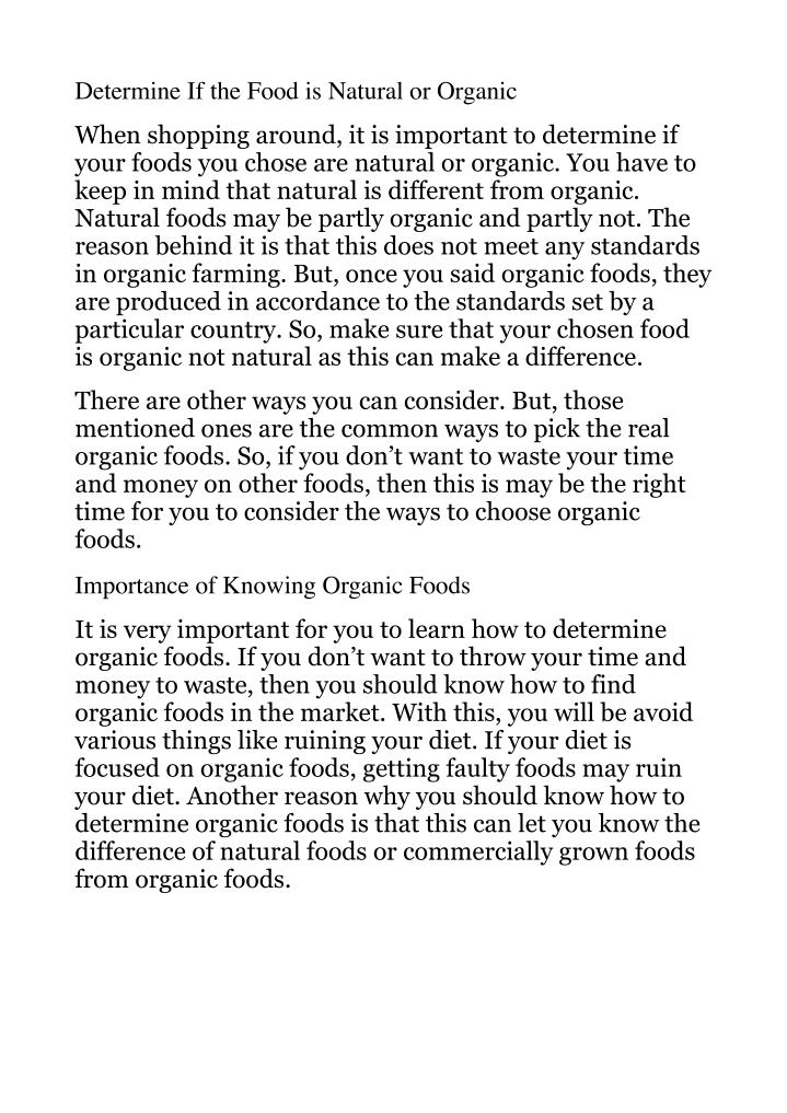 Determine If the Food is Natural or Organic