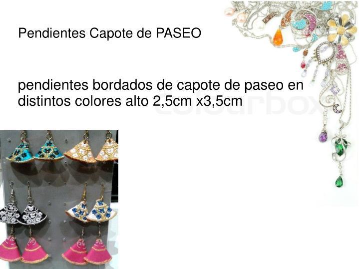 pendientes bordados de capote de paseo en distintos colores alto 2,5cm x3,5cm