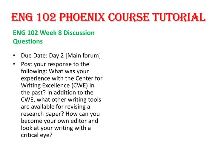 ENG 102 PHOENIX COURSE TUTORIAL